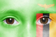 Face with zambian flag Royalty Free Stock Photo