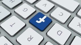 Facebook关键橡皮防水布板 在键盘的脸谱按钮 皇族释放例证