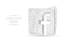 Facebook商标 多角形wireframe滤网艺术 库存照片