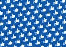 facebook喜欢徽标墙壁 免版税库存照片