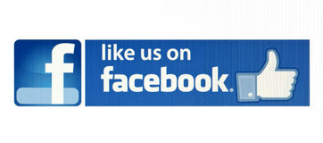 Facebook喜欢电子商务的,网站,流动应用,在个人计算机屏幕上的横幅商标 库存照片