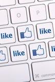 Facebook喜欢象键盘 免版税库存照片