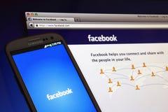 Facebook屏幕 免版税库存照片