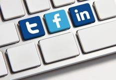Facebook慌张和Linkedin键盘 库存图片