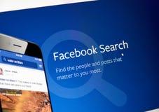 Facebook查寻网页 库存照片