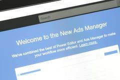 Facebook网站的新的广告经理消息 免版税库存图片