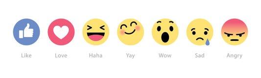 Facebook铺开五个新的反应按钮 免版税图库摄影