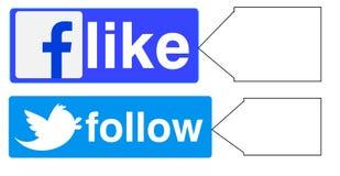 Facebook как twitter следовать Стоковое Изображение RF