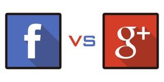 Facebook против Google+ Стоковые Изображения