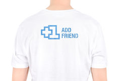 Facebook +1 add friend. Man with the text +1 Add friend is written on a T-shirt concept. Isolated on white Royalty Free Stock Photos