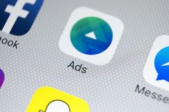 Facebook Ads application icon on Apple iPhone X screen close-up. Facebook Advertising app icon. Facebook Ads mobile application. Sankt-Petersburg, Russia Royalty Free Stock Images
