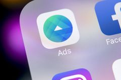 Facebook Ads application icon on Apple iPhone X screen close-up. Facebook Business app icon. Facebook Ads mobile application. Soci. Sankt-Petersburg, Russia Stock Photography