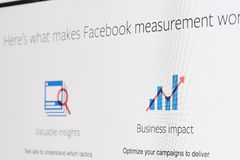Facebook ads measurement. New york, USA - april 8, 2019: Facebook ads measurement on digital screen macro close up view stock photo