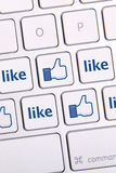 Facebook aiment le clavier d'icône Photos libres de droits