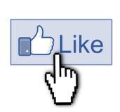 Facebook aiment le pouce vers le haut du signe Photo stock