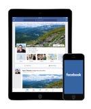 Facebook app på den Apple iPadluften 2 och skärmar för iPhone 5s Royaltyfria Bilder