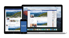 Facebook APP sur l'iPad d'iPhone d'Apple et affichages de Macbook les pro Images stock