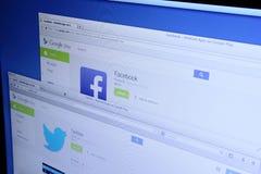 Facebook Apps na Google sztuce i świergot Fotografia Royalty Free