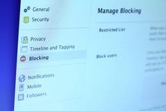 Facebook-Blockieren Stockfotografie