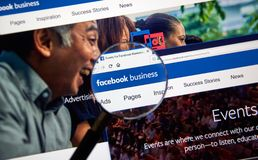 Facebook Business online page. stock image