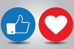 Facebook Buttons. Showing like and love vector illustration