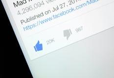 Facebook comme et icônes d'aversion Photographie stock