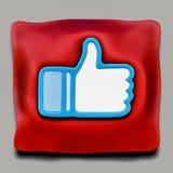 Facebook comme la récompense sur l'oreiller cérémonieux rouge Images libres de droits