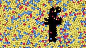 Facebook como el botón y el emoji comprensivo bajo la forma de bolas están cayendo en la superficie ilustración del vector