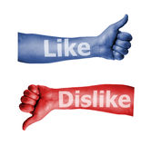 Facebook como el pulgar de la aversión encima de la muestra Fotografía de archivo