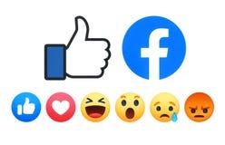 Facebook como las reacciones comprensivas de Emoji del bot?n 6 ilustración del vector