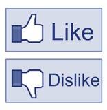 Facebook como o polegar do desagrado acima do sinal Foto de Stock Royalty Free