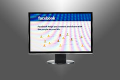 Facebook and computer Royalty Free Stock Photo