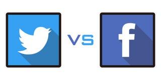 Facebook contra Twitter Imagen de archivo libre de regalías