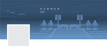 Facebook cover with a vector linear image of the pier on the water vector illustration