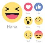 Facebook déroule cinq nouvelles icônes d'émoticône Photos libres de droits