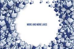 Facebook 3D gosta de ícones Art Illustration da mão Fotos de Stock