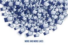 Facebook 3D gosta de ícones Art Illustration da mão Fotos de Stock Royalty Free