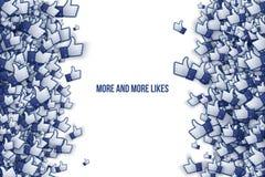 Facebook 3D gradisce le icone Art Illustration della mano Immagini Stock