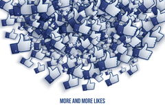 Facebook 3D gradisce le icone Art Illustration della mano Fotografie Stock Libere da Diritti