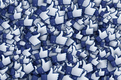 Facebook 3D Like Hand Icons Art Illustration. Isolated on White Background Stock Photo