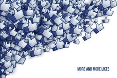 Facebook 3D Like Hand Icons Art Illustration. Isolated on White Background Stock Images