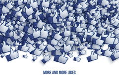 Facebook 3D Like Hand Icons Art Illustration. Isolated on White Background Royalty Free Stock Images
