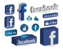 Facebook 3D logo som knappsymbol Arkivfoton