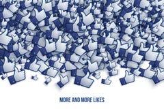 Facebook 3D mögen Handikonen Art Illustration Lizenzfreie Stockbilder