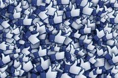 Facebook 3D som handsymboler Art Illustration Arkivfoto
