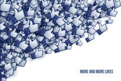 Facebook 3D som handsymboler Art Illustration Arkivbilder