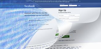 Facebook data hack leaks clone concept image. Facebook data hack or security leaks encryption concept image with Facebook homepage and boolean string numbers vector illustration