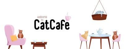 Facebook-de Banner Sociaal Media van het Dekkingsweb Ontwerponthaal aan het Malplaatjevector van de kattenkoffie op witte achterg stock illustratie