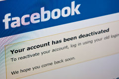 Facebook - deactivate account. Conceptual image of a computer screen with Facebook page - your account has been deactivated stock images