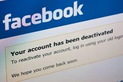 Facebook - desactiveer rekening stock afbeeldingen